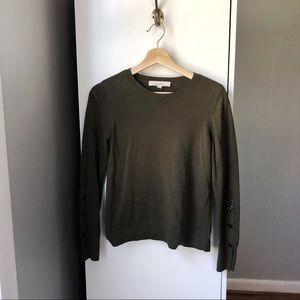 LOFT olive green 100% cotton button sleeve sweater